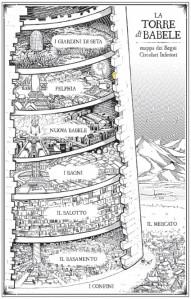 Disegno della Torre di Babele descritta da Josiah Bancroft